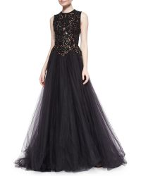 Elie Saab Beaded Contrast Tulle Gown - Lyst