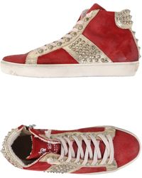 Leather Crown High-Tops & Trainers red - Lyst