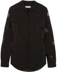 Mulberry Silk-crepe and Embroidered Lace Shirt - Lyst
