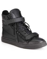 Giuseppe Zanotti Leather High-Top Wedge Sneakers - Lyst