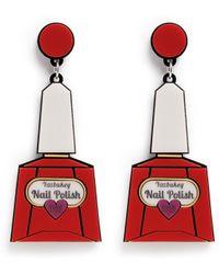 Yazbukey 'Nail Polish' Plexiglas Clip Earrings red - Lyst