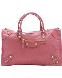 Balenciaga Rose Bombon Leather Zipper Buckle Detail Convertible Tote pink - Lyst