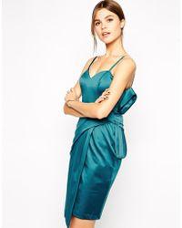 Asos Satin Bow Pencil Dress - Lyst