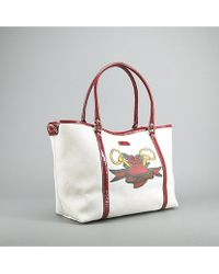Gucci Preowned Canvas Red Tattoo Heart Tote Bag - Lyst