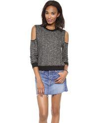 Re:named - Open Shoulder Sweatshirt - Charcoal Grey - Lyst