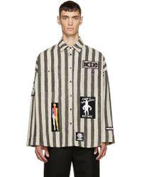 KTZ - Black And Beige Striped Overshirt - Lyst