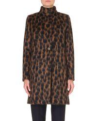 Max Mara Animal Print Wool and Mohair Blend Coat - Lyst