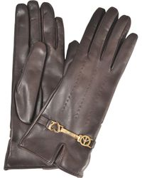 Moschino - Peace & Love Leather Gloves - Lyst