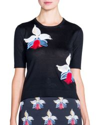 Fendi Embroidered Orchid Cashmere Sweater - Lyst
