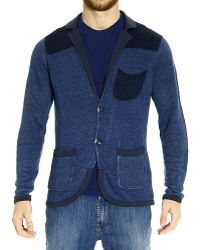 Armani Jeans Sweater Knit Cardigan 2 Buttons Bicolor Line - Lyst