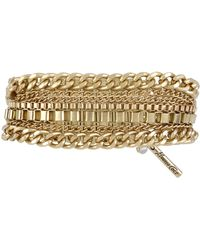 Kenneth Cole Goldtone Multichain Stretch Bracelet - Lyst