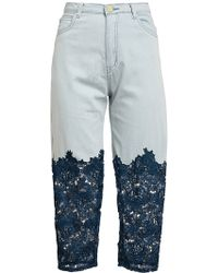 House Of Holland Denim and Lace Jeans - Lyst