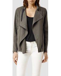 AllSaints Wren Biker Jacket khaki - Lyst