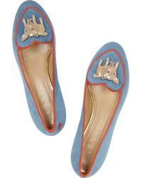 Charlotte Olympia Year Of The Pig Suede Slippers - Lyst