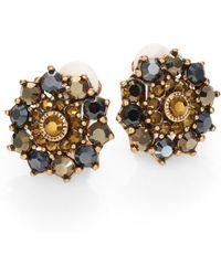 Oscar de la Renta Swarovski Crystal Sunburst Clipon Earrings - Lyst
