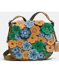 COACH | Tea Rose Applique Saddle Bag 23 In Leather | Lyst