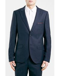 Topman Navy Skinny Fit Suit Jacket - Lyst