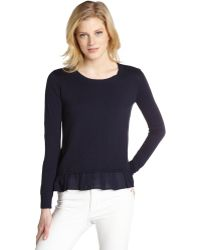 Jamison - Navy Cotton Blend Knit Ruffled Accent 'Chile' Sweater - Lyst