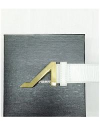 Apolinar - White Grain Leather Belt With Gold Buckle - Lyst