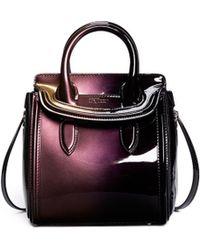 Alexander McQueen 'Heroine' Mini Iridescent Effect Patent Leather Satchel - Lyst