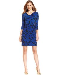 Tahari By Asl Petite Graphic-print Faux-wrap Dress - Lyst
