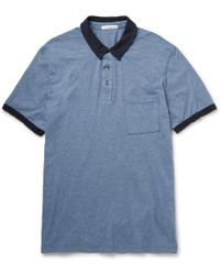 James Perse Marled Cotton-Jersey Polo Shirt - Lyst