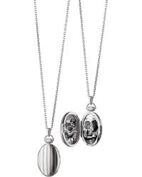 "Monica Rich Kosann - 1"" Pinstriped Silver Oval Locket Necklace - Lyst"