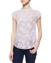 Rebecca Taylor Floral-Embroidered Sheer Blouse - Lyst