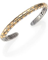 John Hardy Naga 18k Yellow Gold Sterling Silver Cuff Bracelet - Lyst