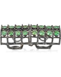 Bernard Delettrez - Articulated Cage And Studs Ring W/tsavorites - Lyst