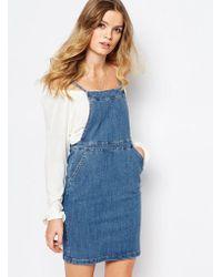 First & I - Denim Pinifore Dress - Lyst