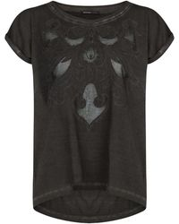 Mango Embroidered Distressed T-shirt - Lyst