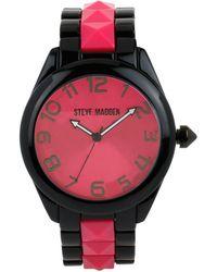 Steve Madden - Women's Pink Studded Black Bracelet Watch 40mm Smw00066-06 - Lyst