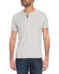 Denim & Supply Ralph Lauren Henley Heather Grey T-Shirt With Flag Button Tab - Lyst