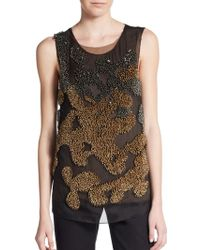 Vera Wang Double Layer Beaded Silk Tank gold - Lyst