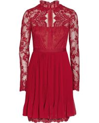 Notte By Marchesa Lace, Tulle And Chiffon Mini Dress - Lyst