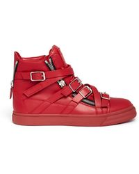 Giuseppe Zanotti 'London' Multi Strap Leather Sneakers - Lyst