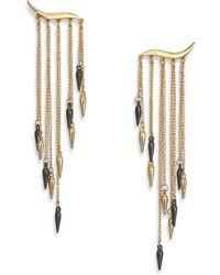 ABS By Allen Schwartz Two-Tone Fringe Earrings - Lyst