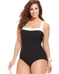 INC International Concepts - Inc International Concepts Plus Size Contrast-trim One-piece Swimsuit - Lyst