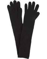 AKIRA - Long Knit Gloves - Black - Lyst
