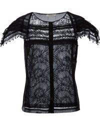 Nina Ricci Lace Cap Sleeve Blouse - Lyst