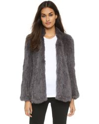 Nicholas - Knitted Fur Jacket - Charcoal - Lyst