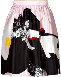 Prabal Gurung Silkcotton Rose Print Skirt - Lyst