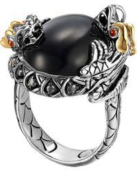 John Hardy Batu Naga Silver  18k Gold Dragon Ring with Black Chalcedony - Lyst