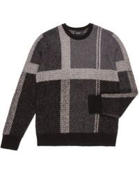 Paul Smith Grey Oversized-Check Jacquard Mohair-Blend Sweater - Lyst