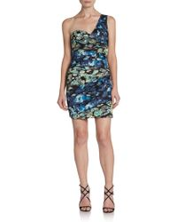 BCBGMAXAZRIA Oneshoulder Floralprint Dress - Lyst