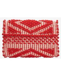 Antonello - Foldover Cotton Clutch: Red - Lyst