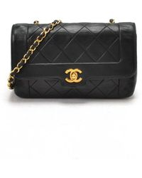 Chanel Preowned Black Lambskin Matelasse Chain Shoulder Bag - Lyst