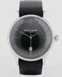 Simon Carter - Black Leather Strap Watch - Lyst