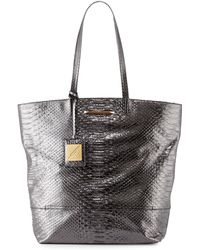 B Brian Atwood Liv Snake-Embossed Tote Bag animal - Lyst